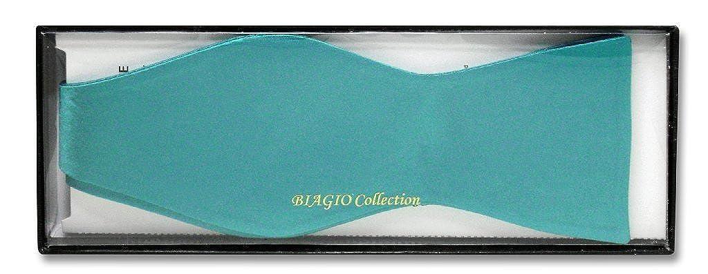 Biagio SELF TIE Bow Tie Solid TURQUOISE AQUA BLUE Color Mens BowTie