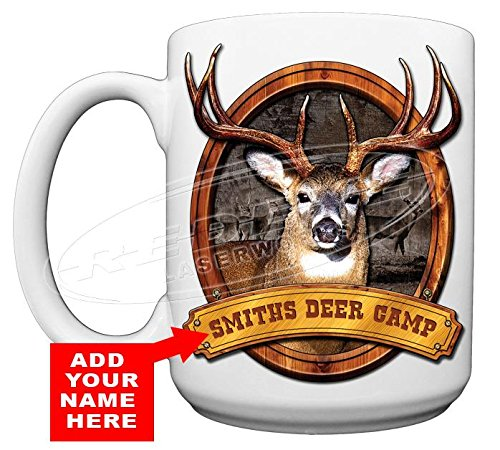 Personalized Deer Camp Large 15oz Coffee Cup from Redeye Laserworks