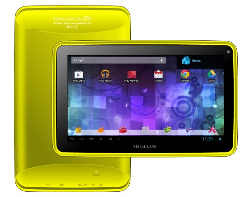 """Visual Land Prestige PRO 7D-TC - 7"""" Dual Core 8GB Android Tablet with Case, JellyBean4.1, Google Play (Yellow)"""