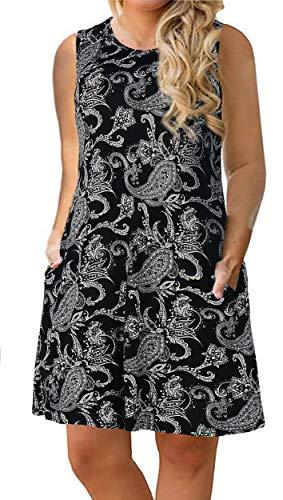 Nemidor Women's Casual Print Summer T Shirt Dress Plus Size Loose Sleeveless Swing Dress with Pocket (24W, Black Cashew Flower)]()