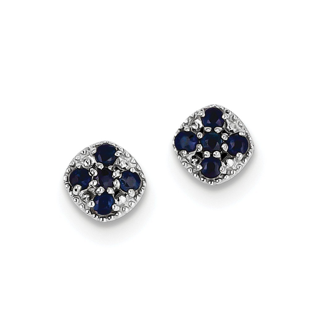 ICE CARATS 925 Sterling Silver Sapphire Square Post Stud Ball Button Earrings Fine Jewelry Gift Set For Women Heart