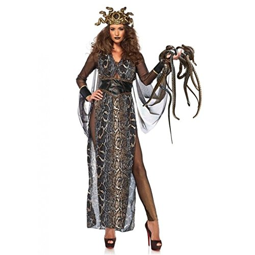 [Women's Medusa Snake Print Dress Outfit Adult Halloween Costume Medium] (Picture Of Medusa Costume)