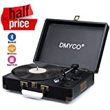 Turntable Vinyl Record Player, DMYCO Turntable Player for 3 Speed Belt Drive, Turntable Portable Suitcase with Dual Stereo Speaker, Bluetooth Record, USB/SD, RCA Output, Headphone Jack, Aux(Black)