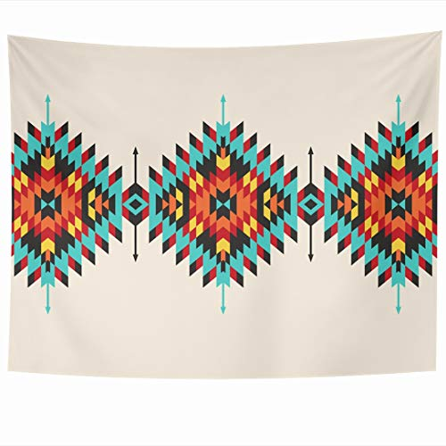 Ahawoso Tapestry 80 x 60 Inches Ethnic Native Tribal Geometric Border Pattern Abstract Indian American Apache Maya Navajo Aztec Wall Hanging Home Decor Tapestries for Living Room Bedroom Dorm