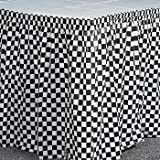 Creative Converting Plastic Table Skirt, 14-Feet, Black Check