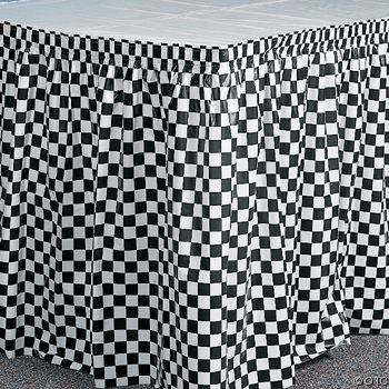 Creative Converting Plastic Table Skirt, 14-Feet, Black Check