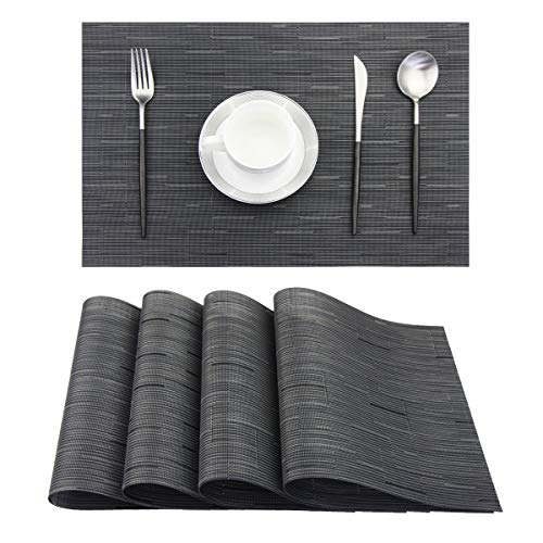 Pigchcy Placemats,Durable Placemats for Dining Table,Washable Woven Vinyl Kitchen Placemats Set of 4(18″X12″,Black)