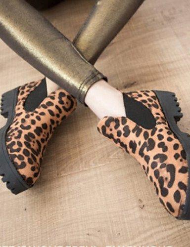 Redonda Eu36 Leopard A Xzz Uk6 Bajo Negro De Estampado Zapatos Tacón us6 Cn39 Tejido Uk4 Punta us8 Cn36 Mujer Botas La Black Casual Animal Moda Eu39 OwApwYgKq