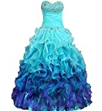 DianSheng Beaded Strapless Rainbow Quinceanera Dresses Ruffle Prom Gowns Turqiose us2