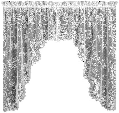 Heritage Lace English Ivy 86-Inch Wide by 63-Inch Drop Swag Pair, White