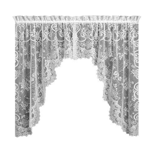 Treatments Swags Window (Heritage Lace English Ivy 86-Inch Wide by 63-Inch Drop Swag Pair, Ecru)