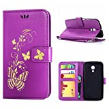 MOONCASE Moto G (2nd Gen) Case, Bronzing Butterfly Pu Leather Wallet Pouch Etui Flip Kickstand Case Cover for Motorola Moto G (2nd Generation) Bookstyle Folio [Shock Absorbent] TPU Case with Photo Frame Purple