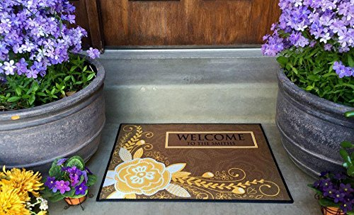 Qualtry Personalized Outdoor Welcome Entrance Door Mat - Decorative Front Door Welcome Rug Wedding Gift (Flower Smith Design, Medium Size) (Mat Personalized Welcome)