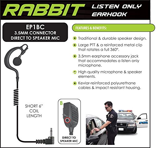 Rabbit Listen Only Earpiece, Small Speaker - 9 inch Cable - 3.5mm Right Angle Plug
