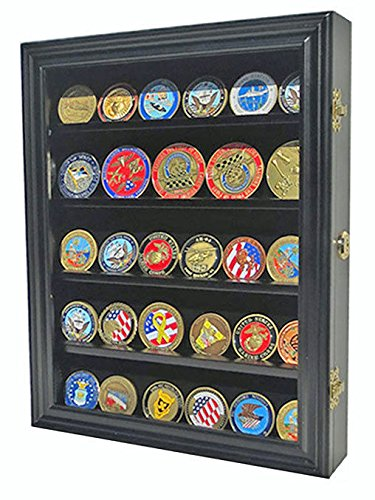 Black Finish Lockable Challenge Coin Display Case Wall Shadow Box Cabinet
