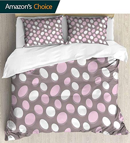 shirlyhome Geometric Full Queen Duvet Cover Sets,Retro Oval Pattern Circles Abstract Pale Vintage Elliptical Design Bedding Set for Teen 3PCS 87