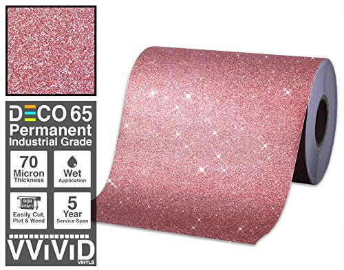 VViViD Glitter Red DECO65 Permanent Adhesive Craft Vinyl 1ft x 6ft Roll for Cricut, Silhouette & (Red Glitter Adhesive)