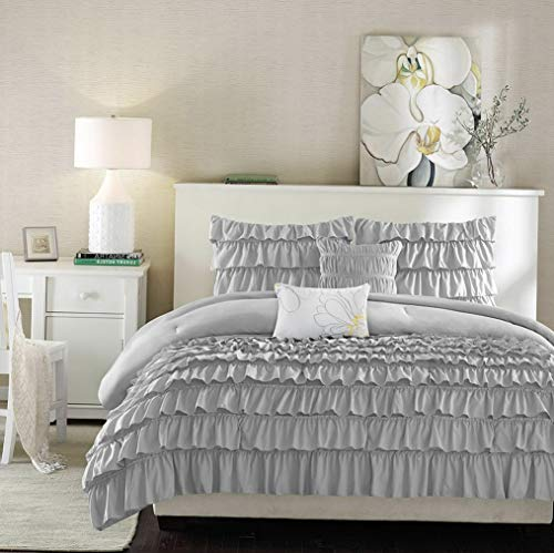 Kaputar Beautiful Modern Grey Ruffled Pleat Ruched Textured Chic Comforter Set Pillow | Model CMFRTRSTS - 846 | Twin Extra Long