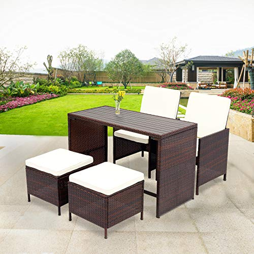(Wisteria Lane 5 Pcs Patio Furniture Dining Set Outdoor All-Weather Square Wicker Dining Table and Chairs with Ottoman Cushioned Stool,Brown Wicker)