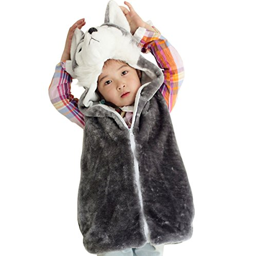 Hanstyle Cartoon Toddler/kids/child Role Play Costume Warm Hooded Animals Vest (M(5-10Y), Husky) -