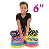 4E's Novelty Rainbow Coil Spring Giant Slinky, Great Toy for Kids Bright Colors Large Slinky Birthday Gifts for Kids Boys Girls, 6''