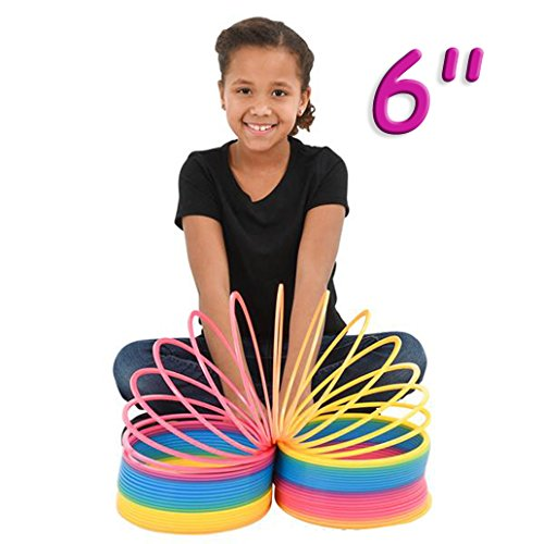 4E's Novelty Rainbow Coil Spring Giant Slinky, Great Toy for Kids Bright Colors Large Slinky Birthday Gifts for Kids Boys Girls, 6'' by 4E's Novelty