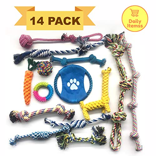 Dog Rope Toys for Aggressive Chewers.Set of 14 Nearly Indestructible Dog Toys. Tough Durable Heavy Duty Dental Chew Toys Kit for Small and Medium dog, Puppy Teething, Tug of War Play.