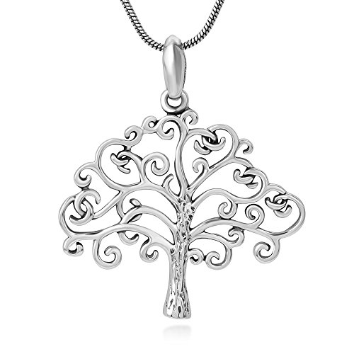(Chuvora 925 Sterling Silver Open Filigree Beautiful Tree of Life Symbol Pendant Necklace for Women, 18