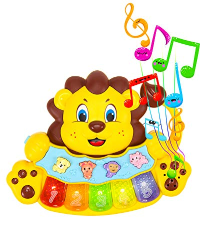 STEAM Life Educational Baby Musical Instrument Toy Piano - Mini Light Up Crib Toy - Lion Light Up King Piano Toy Keyboard has 5 Numbered Keys - Plays Songs and Music Memory Game (Baby Lion King Piano)