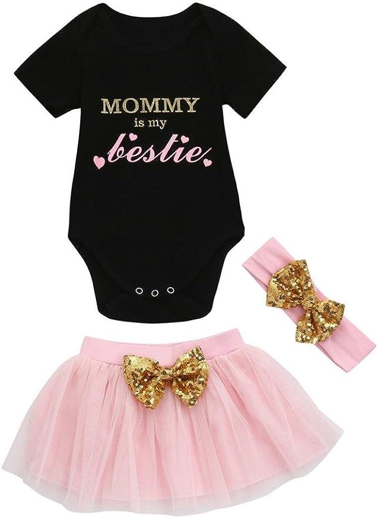Jchen TM for 0-18 Months 3pcs Toddler Baby Kids Girls Short Sleeve Romper+Tutu Skirt+Headband Set Outfits