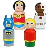 Bif Bang Pow! DC Comics Justice League Batman, Wonder Woman, Aquaman, Cyborg Pin Mate Wooden Figure Set of 4 Collectible, 2