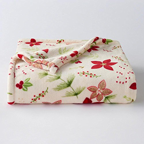 The Big One Oversized Plush Throw (Christmas Floral) - 5ft x 6ft Super Soft and Cozy Micro-Fleece Blanket for couch or bedroom (Christmas Fabulous Fox White)