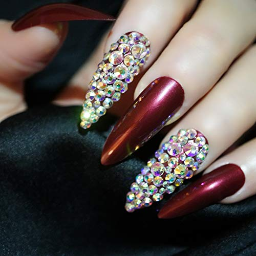 EDA LUXURY BEAUTY DARK RED BURGUNDY 3D LUXE JEWEL DESIGN Press On Nails Full Cover Acrylic Nail Kit Artificial Nail Tips False Nails Extra Long Oval Round Pointed Almond Stiletto Nail Art Fake Nails
