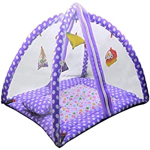 D K Enterprises Polka Dots Infant Baby Bedding Set with Mosquito Net   Newborn Play Gym with Hanging Toys   New Born…