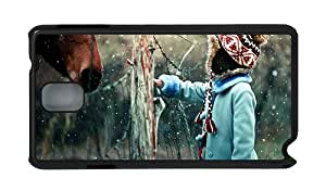 Stylish carrying Samsung Note 3 cover Girl and horse in snow winter PC Black for Samsung Note 3/Samsung N9000