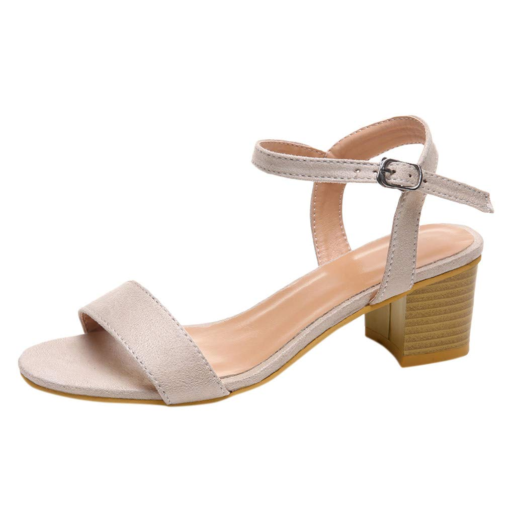 Respctful✿ Women's Fashion Leopard Mid-Heel Sandal with Ankle Strap Heeled Chunky Buckle Sandals Shoes Beige