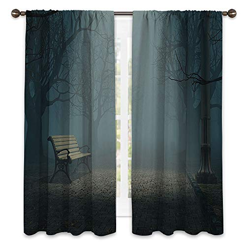 SATVSHOP Patio Sliding Door Curtain - 63W x 72L -Patio Sliding Door Curtain.Farm House Bench in The Park on a Dark Mysterious Night Scary for t Horror Theme Habitat Dign Teal.]()
