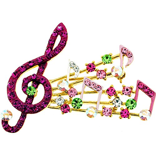 Fuchsia Pink Music Note Swarovski Crystal Pin Brooch