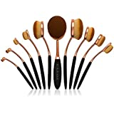 Professional Oval Makeup Brush Set - 10 Brushes - Toothbrush Design Brushes by Cleof