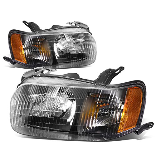(For Ford Escape 1st Gen Crossover CUV Pair of Black Housing Amber Corner Headlight Lamp)