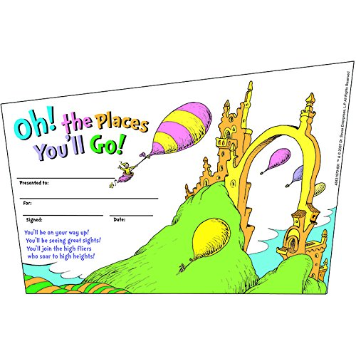 Eureka Back to School Dr. Seuss, Oh, The Places You'll Go' Recognition Awards for Kids, 36pc. 8.5'' W x 5.5'' -