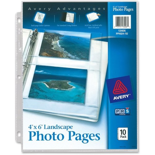 Avery 13406 Horizontal Photo Pages, 4 Photo Capacity, 4