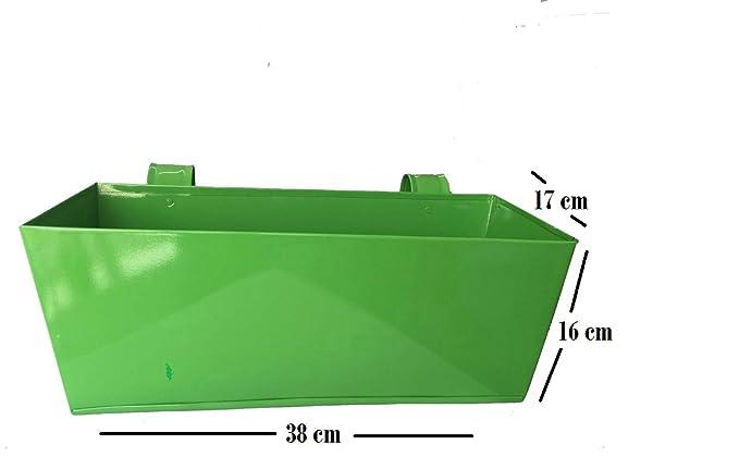 First Smart Deal Metal Railing Rectangular Planter Plain Large - Green