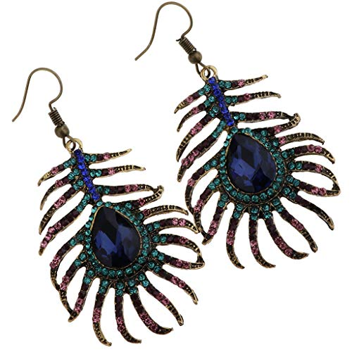 Women Sparkling Rhinestone Hook Earring Peacock Feathers Shape Drop Earrings