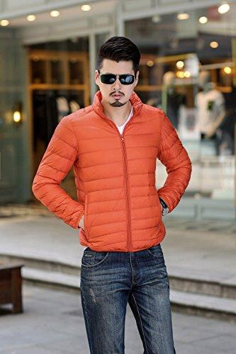 Cappotto Maschile Arancione Striscia Caldo Imbottito Leggera Quibine Pianura Piumino 0Ty4zwpq1x