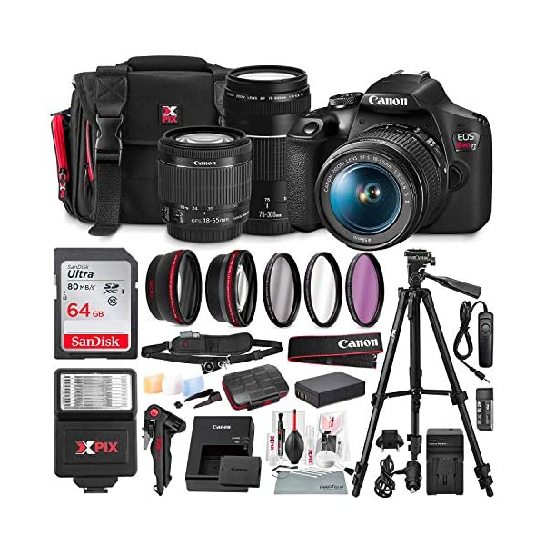 Canon T7 EOS Rebel DSLR Camera with 18-55mm and 75-300mm Lenses Kit + UV Filter Set...