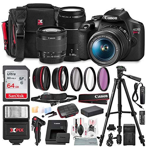 Canon T7 EOS Rebel DSLR Camera with 18-55mm and 75-300mm Lenses Kit + UV Filter Set + Tripods + Battery Power Kit & 64GB SD Card Deluxe Accessory Bundle