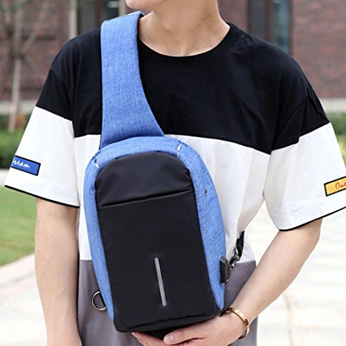 Sling Backpack, Gallity Outdoor Rechargeable USB Anti-thief Shoulder Chest Pack Unbalance Crossbody Bag for Women Men Girls Boys Travel (Blue) (Sling Gel)