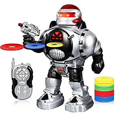 SGILE Kids Robot Toy, RC LED Combat Programmable Interactive Robotic with Remote Control Shooting Dancing Walking for Kids Gift Birthday Present, Silver