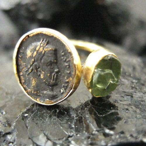 Apatite Coin - Ancient Design Handmade Hammered Roman Coin Ring With Apatite 22K Gold over 925 Sterling Silver